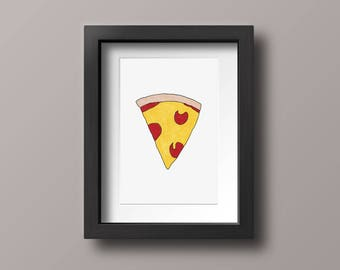 Pepperoni Pizza Marker Illustration Print, Hand Drawn Art, Pizza Postcard