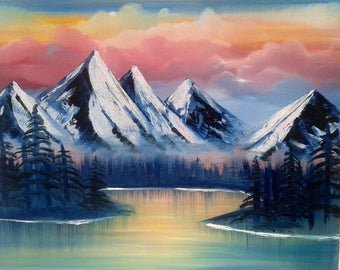 Mountains Oil Painting Bob Ross Inspired Painting Spiritual Lake