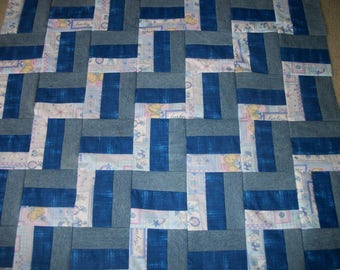 NHM Blue Jean Quilt Top~Denim Quilt Top~Nursery Quilt~Size 36X41~Crib Quilt or Baby Blanket~Rattles Bottles Etc~Blue Quilt