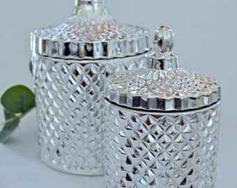 Luxe Glass Jars for: Candles, Jewellery, Makeup Brushes, Cotton Buds, Makeup Pads. Stunning Silver.
