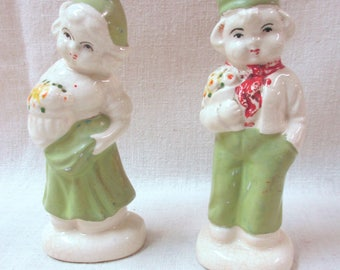 Pair of Vintage Ceramic Dutch Children Salt and Pepper Shakers