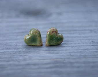 Old green ceramic heart earrings, Ceramic stud, green stud, green earrings, ceramic hearts, ceramic earrings, surgical steel posts, gift