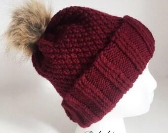 Knitted toque pompoms fake fur /bourgogne