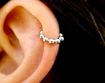 Simple Cartilage Hoop, 925 silver, circle Tragus piercing, helix endless hoop, triple helix hoop earrings, tear droplets hoops 6mm, 7mm, 8mm