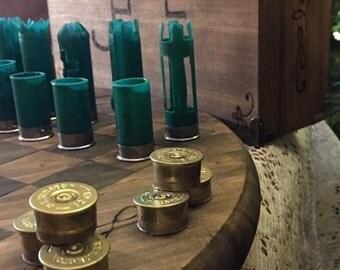 Handmade Shotgun shell Chess and Checker set