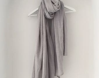 Oversized Slub Cotton Linen Grey Scarf - cotton scarf, huge scarf, grey oversized scarf, grey shawl, cotton shawl, boho shawl, boho scarf