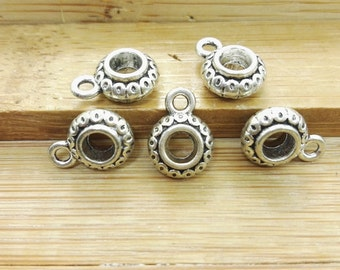 100pcs      Tibetan Beads with bail , Bail Beads , Antique Silver Beads With Bails, Large hole beads with Bail, European Bail Beads