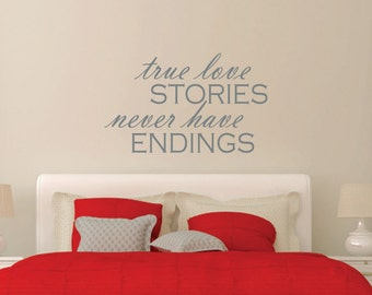 True Love Stories Wall Decal | Love Wall Decal | Master Bedroom Wall Decal  | Love Part 9