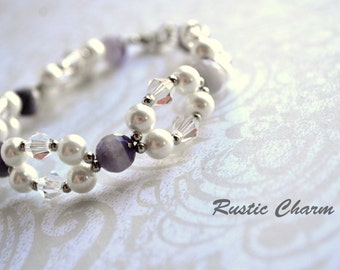 Faceted Amethyst and Crysal Double Strand Bracelet