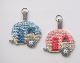 Caravan key fob, bag charms, camping, caravan, mobile home, caravan key chain
