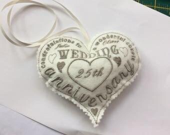 Personalised Wedding Anniversary Heart Stuffed Hanging Pillow Gift Keepsake Made To Order