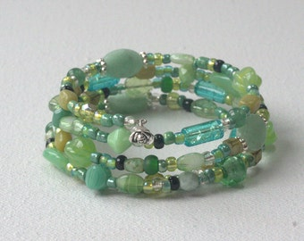 Lovely greens and aqua glass beaded wrap bracelet, free shipping
