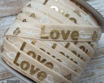 IVORY- Gold Metallic LOVE Print Elastic, Baby Headband Elastic, Elastic by the Yard