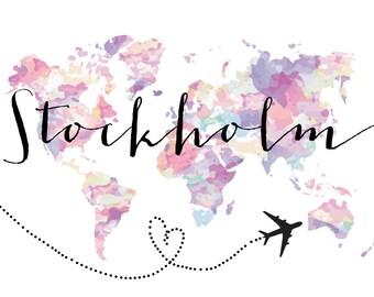 Travel Theme Custom Printable Wedding Table Numbers, Cities, Countries