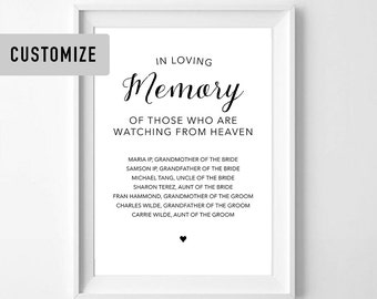 Memorial Table Sign, In Loving Memory Sign - Customized PDF