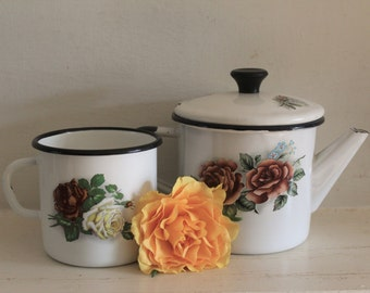 Vintage Enamel Soviet Tea Pot and a Sovier Mug with Roses