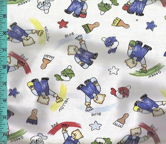 Bear Panting Cotton Fabric Home Decor Quilt Or Craft Fabric From Lynnsdraperies On Etsy Studio