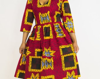 Ankara Dress, Mixed Print Ankara Dress, ankara midi dress, patterned dress, ankara clothing, african clothing