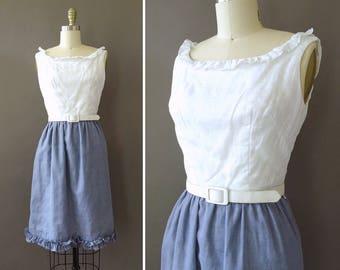 50s Two Tone Dress - 1950s Vintage WiggleDress - Sleeveless Dress w Ruffles - White Top w Blue Skirt - Cotton Blend Dress w Pleats - Medium