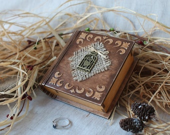Ring bearer book box Engagement ring box Rustik ring book box Wooden jewelry box Wedding ring box Pillow alternative Wedding ring pillow