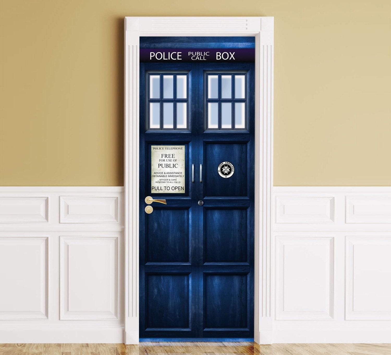 Door / Wall / Fridge Sticker Tardis. Peel & Stick Removable