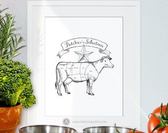 Beef Cuts Poster Cow Print Butcher Diagram Printable Kitchen Print Kitchen Art Black and White Kitchen Poster Big Size PDF Digital Download