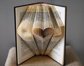 Gift For Book Lovers, Wedding Gift, Folded Book Art, Personalized Wedding Gift, Book Art Sculpture