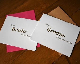 Wedding Vows, To My Groom Card, To My Bride Card, Gold Foil Cards