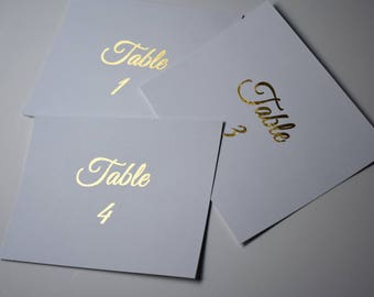 Gold Foil Wedding Table Numbers, Wedding Decor