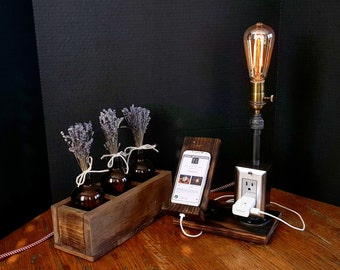 Pipe lamp docking station with built in plug by Firefly & Co.