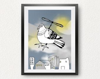 "Print ""Lazy bird"" DIN A4, poster, pigeon, pressure"