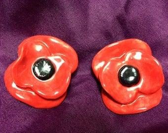 Handmade Ceramic Poppy Brooches (2No.)