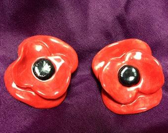 2 x Handmade Ceramic Poppy Brooches