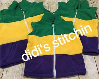 Fleece Mardi Gras Vest/Unisex Mardi Gras Vest/Adult & Child Sized Vest