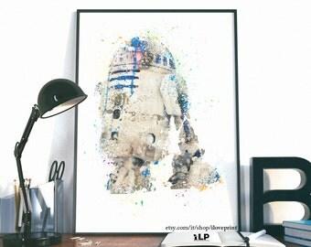 R2D2 Poster, Star Wars Watercolor Art, Star Wars Art Print, R2D2 Watercolor, Posters Star Wars, Star Wars Posters, Watercolor Star Wars