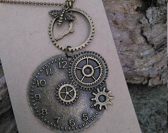 Steampunk clock and with antique bronze necklace