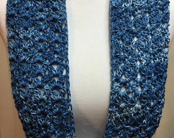 Blue Summer Scarf, Crochet Scarf, Blue Scarf, Summer Scarf, Cotton Scarf, Lightweight Scarf, Small Cowl Scarf, Gifts for Her, Spring Scarf