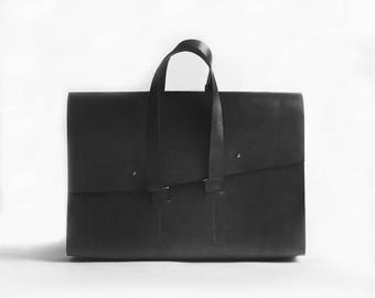 Leather briefcase. Vegetable tanned leather portfolio for laptop. Men and women messenger bag. Laptop leather messenger bag with straps