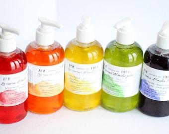 Liquid soap moisturizing fruity perfumes - saponifiés olive of coconut oil and cocoa butter - formula vegan