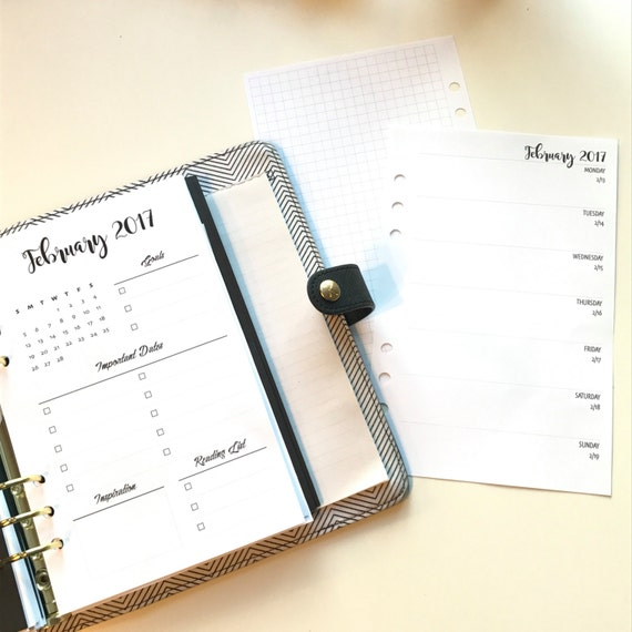 Sampler - Monthly Set   Weekly On One  Page and Daily Printed Planner Inserts   Half Letter Size for A5 Planners