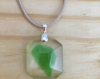 Under the Sea Beach Glass Resin Pendant Suede Cord Necklace
