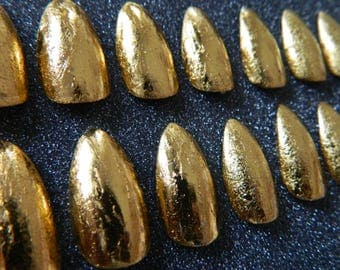 Gold Leaf Effect Stiletto False Nails.