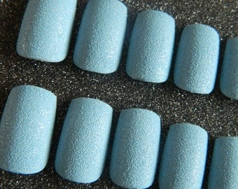 Blue Textured False Nails.