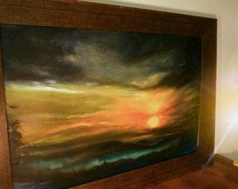 Sunset Oil Painting, landscape Living Room Decor,Wall Art Painting, Palette Knife Painting,Flower, Modern Oil Painting