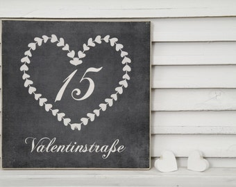 Personalized wooden sign with house number and street in gray