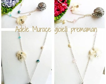 Long necklace Bola * maternity * rattle * with initial