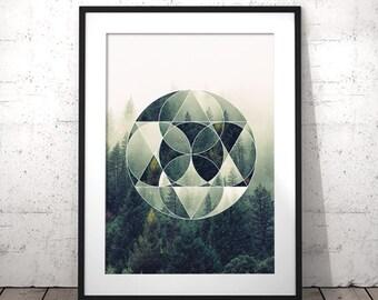 Forest Print, Geometric Print, Nature Wall Art, Forest Wall Art, Geometric Shapes Art, Forest Printable, Digital Download Art, Modern Poster