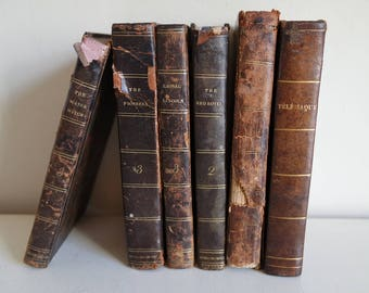 In french and english, lot of 6 leather bound books: 1816-1830
