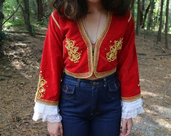RARE Vintage Embroidered Bolero Cut Jacket with Lace Detailing