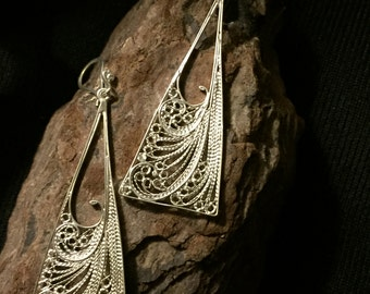 Silver Filigree Earrings , triangular bohostyle